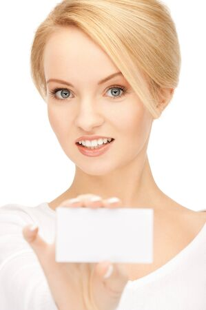 bright picture of confident woman with business card Stock Photo - 9393587