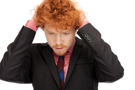 bright closeup portrait picture of unhappy man photo