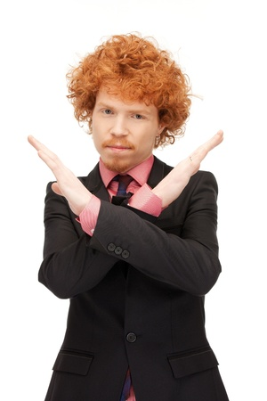 bright picture of young man making stop gesture Stock Photo - 9407963