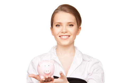 picture of lovely woman with piggy bank Stock Photo - 9439523