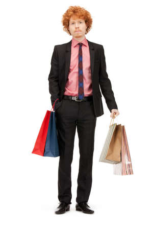 picture of handsome man with shopping bags photo