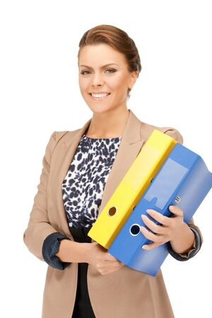 bright picture of beautiful woman with folders Stock Photo - 9493904