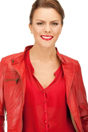 bright picture of lovely woman in red leather jacket photo