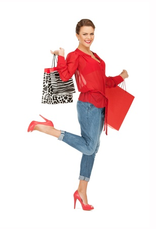 carry on bags: picture of lovely woman with shopping bags