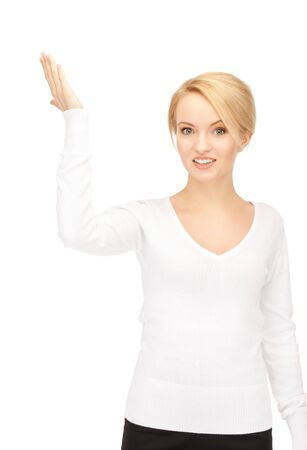 bright picture of happy woman with expression of surprise photo