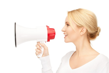 bright picture of beautiful woman with megaphone photo