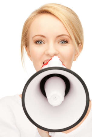 bright picture of beautiful woman with megaphone Stock Photo - 9512995