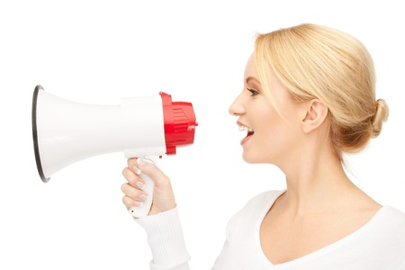 bright picture of beautiful woman with megaphone Stock Photo - 9534651