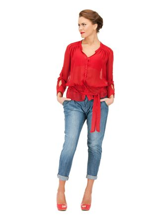 red jeans: bright picture of lovely woman in red blouse and jeans