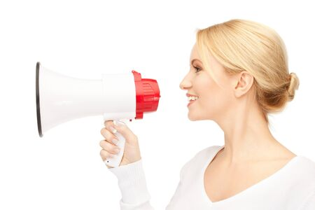 bright picture of beautiful woman with megaphone Stock Photo - 9534618