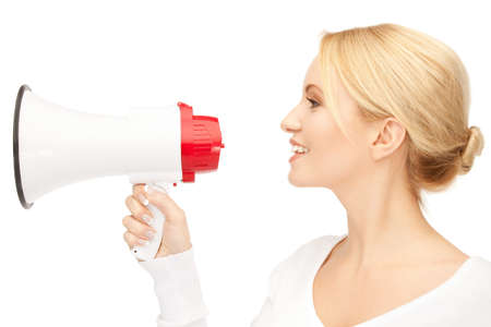 bright picture of beautiful woman with megaphone Stock Photo - 9534607