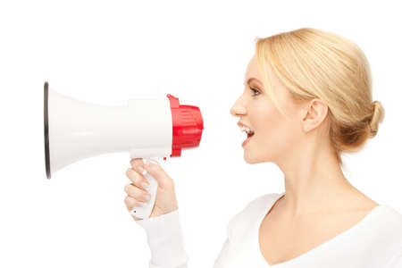 loudhailer: bright picture of beautiful woman with megaphone