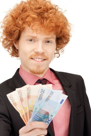 picture of handsome man with euro cash money Stock Photo - 9613400