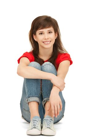 red jeans: bright picture of happy and carefree teenage girl Stock Photo