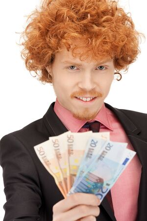 picture of handsome man with euro cash money Stock Photo - 9613250