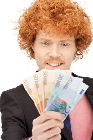 picture of handsome man with euro cash money Stock Photo - 9659490