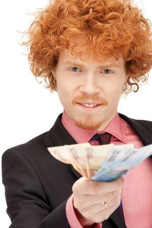 picture of handsome man with euro cash money Stock Photo - 9659491
