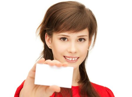 bright picture of confident teenage girl with business card Stock Photo - 9659880