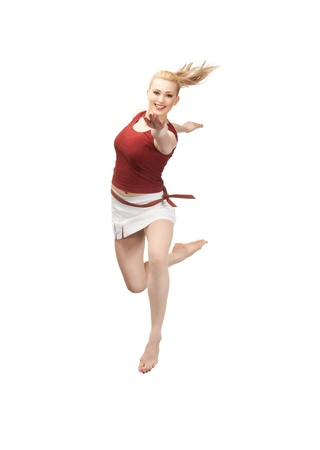 bright picture of happy jumping sporty girl Stock Photo - 9659494
