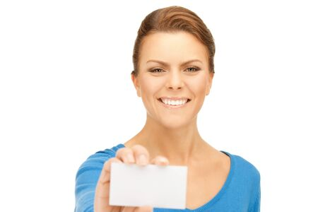 bright picture of confident woman with business card Stock Photo - 9709487