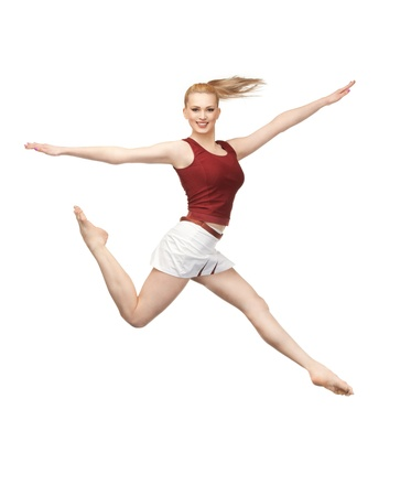 bright picture of happy jumping sporty girl photo