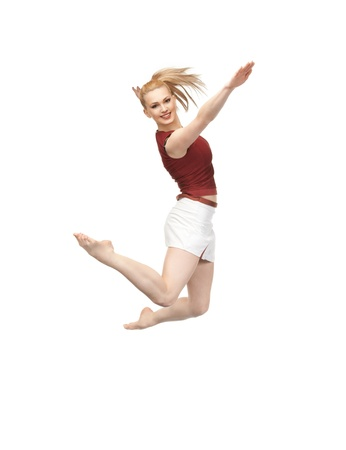 bright picture of happy jumping sporty girl Stock Photo - 9709555