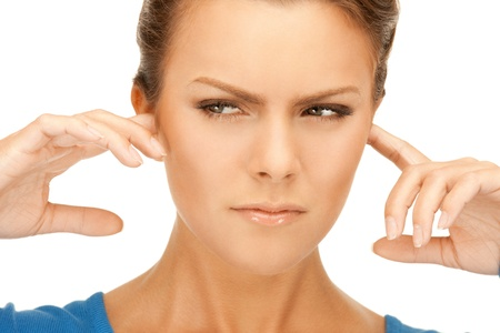 picture of woman with fingers in ears Stock Photo - 9709627