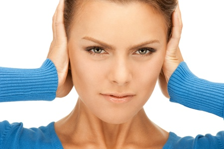 picture of woman with hands on ears Stock Photo - 9709659
