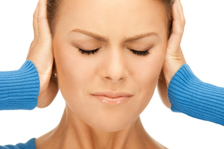 picture of woman with hands on ears Stock Photo - 9709680