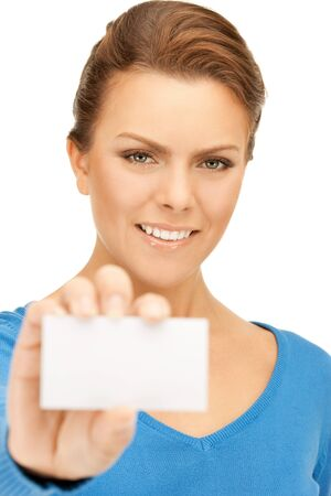 bright picture of confident woman with business card Stock Photo - 9710248