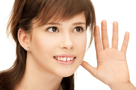 bruit: bright picture of teenage girl listening gossip