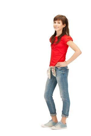 cute teen girl: Яркая картина счастливой и беззаботной девочки-подростка Фото со стока