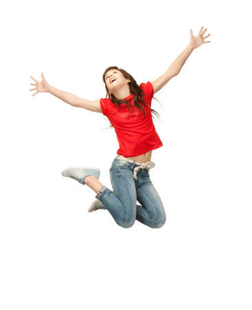bright picture of happy jumping teenage girl photo
