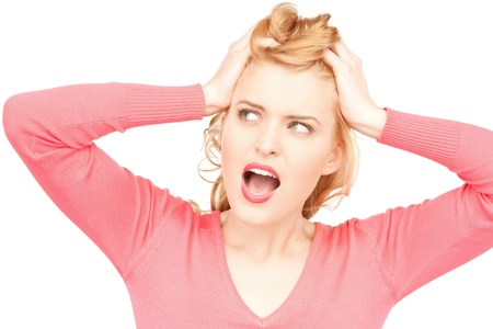 bright picture of unhappy woman over white Stock Photo - 9846491