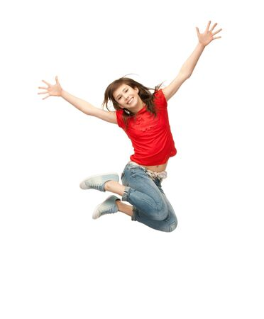 air jump: bright picture of happy jumping teenage girl