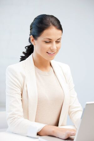 picture of happy woman with laptop computer Stock Photo - 9846588