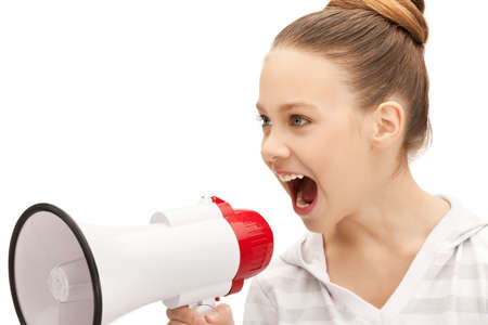 bright picture of teenage girl with megaphone photo