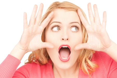 bright picture of woman with expression of surprise photo