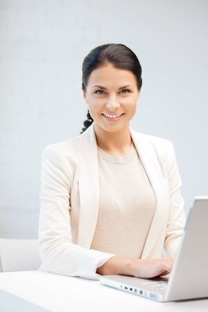 picture of happy woman with laptop computer Stock Photo - 9846647