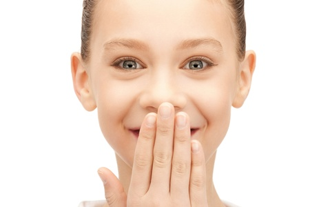 bruit: bright closeup picture of laughing teenage girl Stock Photo