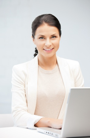 picture of happy woman with laptop computer Stock Photo - 9846694