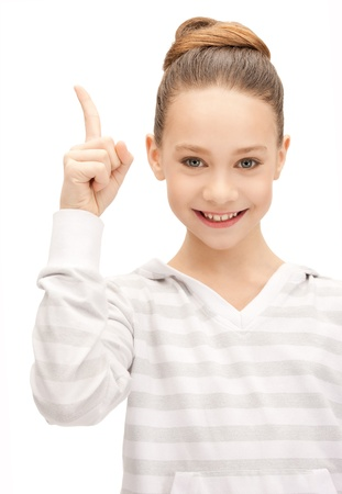 picture of attractive teenage girl with her finger up photo