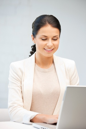 picture of happy woman with laptop computer Stock Photo - 9847068