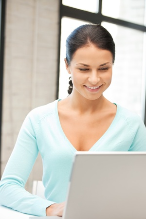 picture of happy woman with laptop computer Stock Photo - 9847069