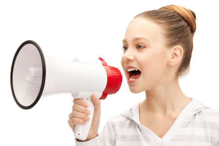 loudspeaker: bright picture of teenage girl with megaphone