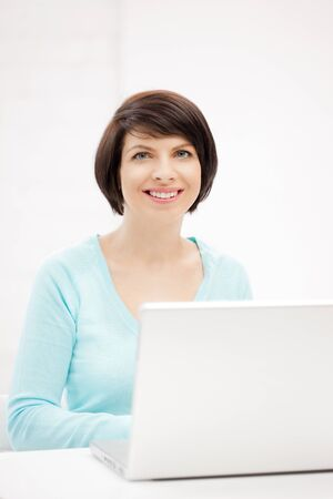 picture of happy woman with laptop computer Stock Photo - 9846757