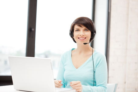 picture of helpline operator with laptop computer Stock Photo - 9846951