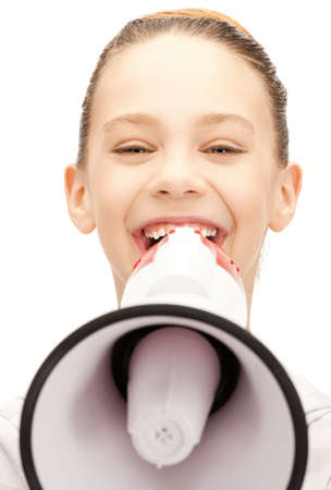 loudhailer: bright picture of teenage girl with megaphone