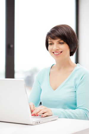 picture of happy woman with laptop computer Stock Photo - 9846782
