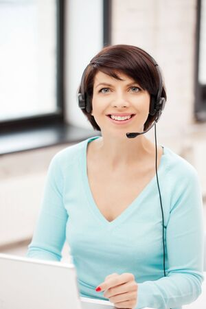 picture of helpline operator with laptop computer Stock Photo - 9846963